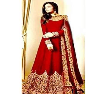 Semi Stitch Georgette Embroidery Gown For Women