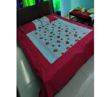 EMBROIDERY BED SHEET WITH 2 PILLOW