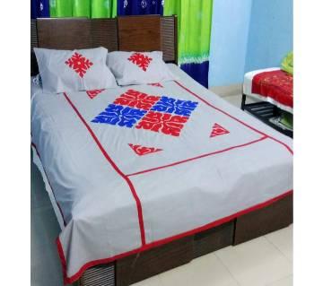Hand Stitched Applique Design Double Size Bed Sheet Set