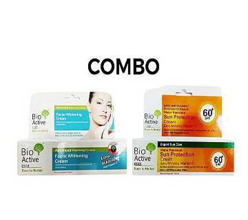 Combo of Bio-Active Facial Whitening Cream - 100g and Bio-Active Water Resistant Sun Protection Cream - 100g - Thailand