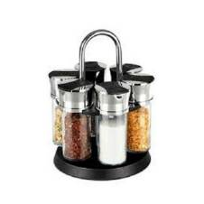 Roating Spice Jar 6 Pcs - Silver