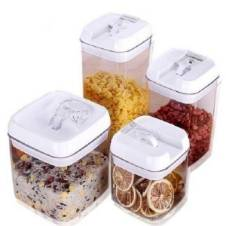 4 Set Easy Lock Food Containers With Vacuum Seal Lids - White and Transperant