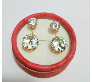 Indian stone setting double ear ring