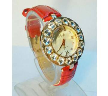 LEATHER BELT RED WATCH