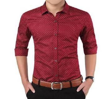 Light Maroon Full Sleeve Polka Dot Shirt for Men