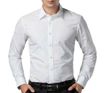 White Cotton Long Sleeve Shirt for Men