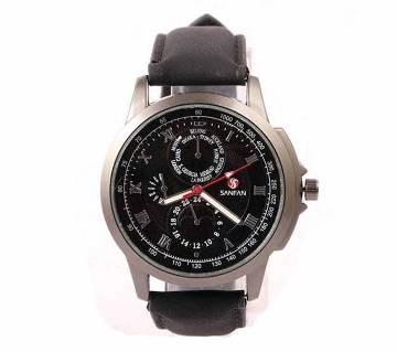 Leather wrist Watch For Men-Black