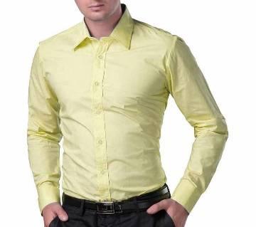 Yellow Cotton Full Sleeve Shirt for Men