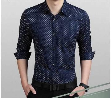 Mens Dress Shirt Polka Dot Pattern Nevi Blue.