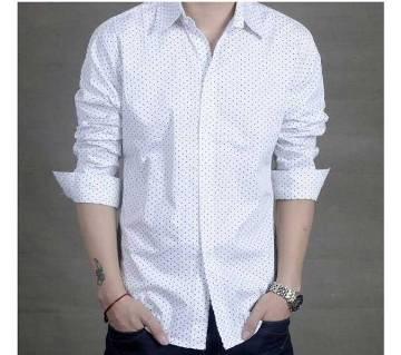 Menz Dress Polka Dot Pattern Formal White Shirt