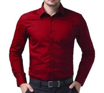 Red Cotton Full Sleeve Shirt for Men