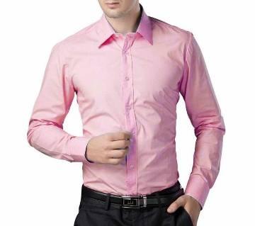 Pink Cotton Full Sleeve Shirt for Men