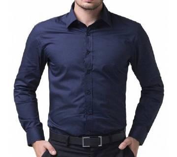 Full Sleeve Button Down Navy Blue Shirt