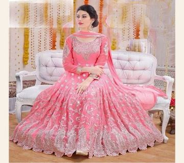 Unstitched Embroidery Georgette Gown
