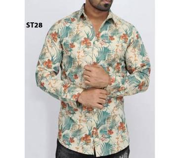 Full Sleeve Printed Khaki Shirt For Men