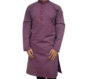 Maroon Printed punjabi for men