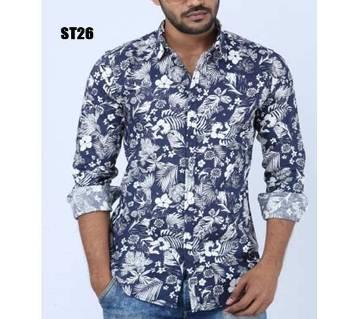 Navy Blue Full Sleeve Cotton Shirt For Men