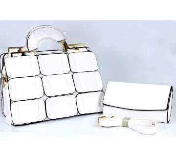 Women Leather Hand Bag - White - 855WH