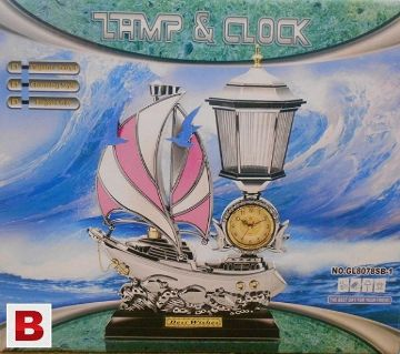 Table Clock in a Plastic Sailing Ship with Lamp (HS117)