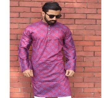 Menz Semi Long Panjabi - Maroon Color With Megenta Color Flower Print-(SU420)