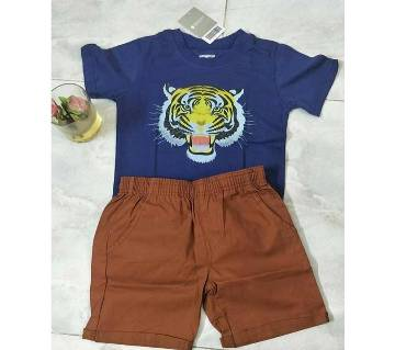 4 years-Baby Boy Summer Dress -Tiger Block Blue 7 meroon