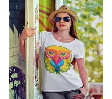 White T-Shirt Baishakhi Pecha Design for Women