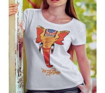 White T-Shirt with Baishakhi Haati Design for Women