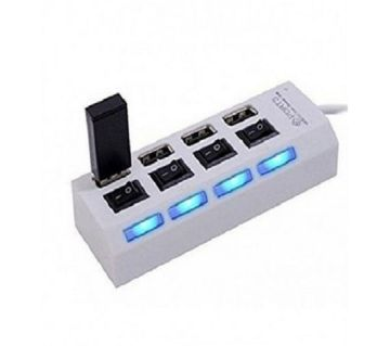 4-Port USB 2.0 HUB With Individual Power Switches - White - GNG