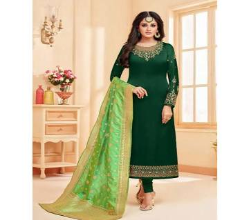 Meera Trendz Zisa Vol 54 Hit List - 10283 - Bottle GreenUnstitched Three Piece - Copy(Code-SU790)