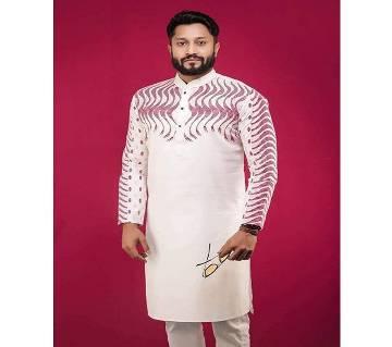 Off White with Pink Net Wave Design around Shoulder Cotton Panjabi