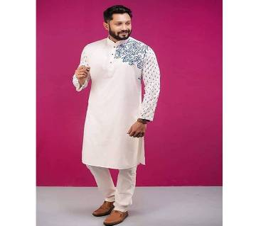 Off White with Blue Flower Design in Shoulder Cotton Panjabi
