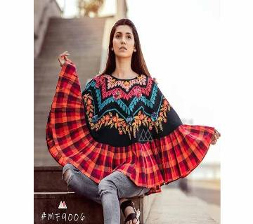 RANGEELA RE Colorful Embroidered Ponchos Black with Orange Ash