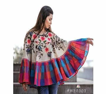 RANGEELA RE Colorful Embroidered Ponchos Cream with Orange Blue Purple