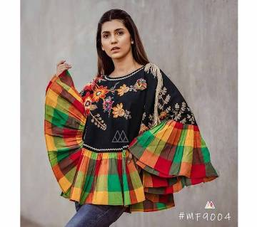 RANGEELA RE Colorful Embroidered Ponchos Black with Orange Green Yellow