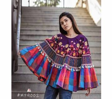 RANGEELA RE Colorful Embroidered Ponchos Purple with Blue Orange