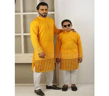 Combo Punjabi - 191158 - Golden Yellow with White Design(Code-SU838)