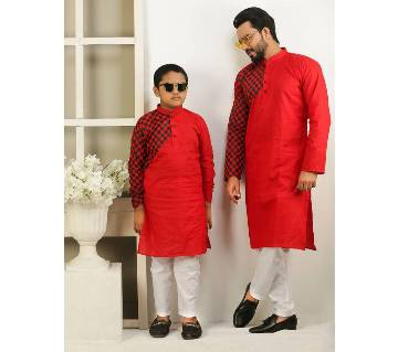 Combo Punjabi - 191157 - Red With Black One Hand Side Design Color(Code-SU840)