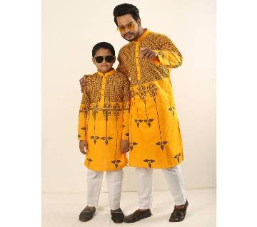 Combo Punjabi - 191156 - Yellow With Black Leaf Design Color(Code-SU880)