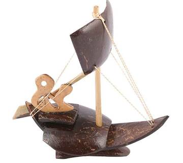 Handcrafted Coconut Shell made One Sailing Boat Showpiece