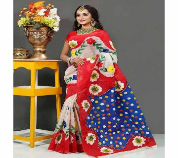 Pure Deshi Beautiful Sharee - 150 - Off White and Red Part with Blue Colorful Ball Design in Paar (SU604)