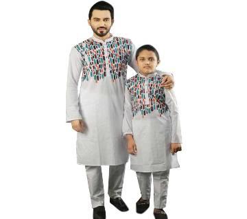 Combo Punjabi - 191150 - Off White with Aqua Blue, Orange and Brown Design(Code-SU890)
