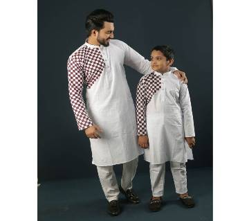 Combo Punjabi - 191148 - White With Cream One Hand Side Design Color(Code-SU892)