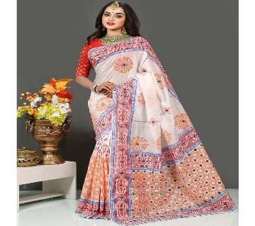 Pure Deshi Beautiful Sharee - 161 - Off White with Orange and Red Pink Design in Paar and Anchol (SU621)
