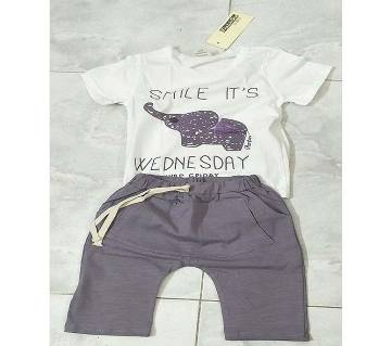 Baby Boy Summer Dress White with Dark Magenta