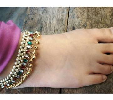 Indian Anklet pejab Ghungroo Color stone payel