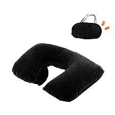 3 in 1 Travel Set Neck Pillow and Eye Mask and Ear Plug - Black