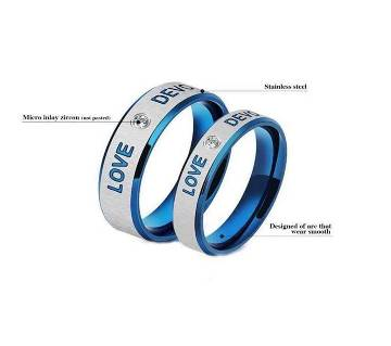Blue and Silver Zircon Finger Ring for Couple