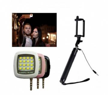 Combo Pack LED Flash Light with Selfie Stick-105