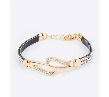 Gold color chain link cubic zircon crystal Bracelet for Ladies