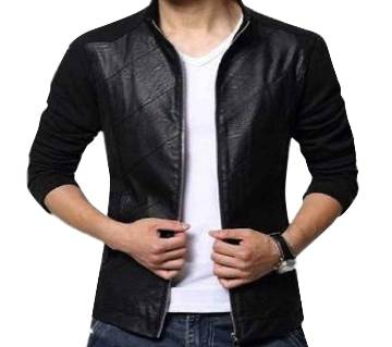 Mix Lther Full Sleeve Jaket
